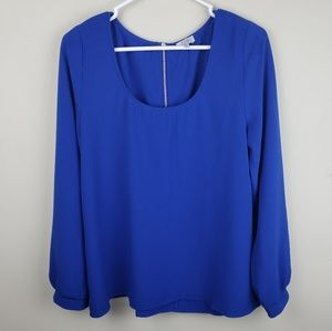 Tobi | Royal Blue Long Sleeve Blouse